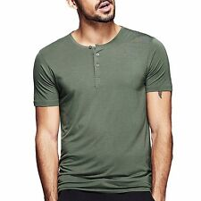Mens Smooth Casual Henley T-shirt Viscose Soft Solid Basic Tee 5 Colors Fine!!