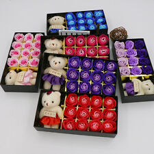 12Pcs Scented Rose Petal Flower Soap With Cute Bear For Party Festival Gift