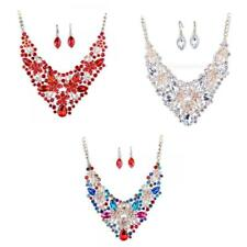 Exaggerate Bridal Rhinestone Necklace Earring Jewelry Set Ornaments