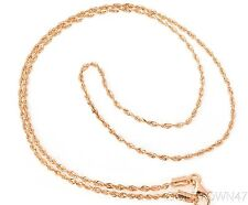 14kt Rose Gold 1.5mm Shiny Solid Diamond Cut Royal Rope Chain with Lobster Clasp