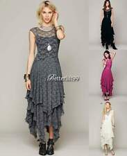 Women Sheer Lace Casual double layered Gown Prom Evening Party VNeck Slip Dress@