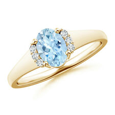 Oval Aquamarine with Round Diamond Collar Solitaire Ring 14K Yellow Gold