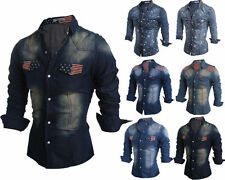 Mens Casual Button Down Printing Casual Denim Shirts Wash Slim Fit Long Sleeve d