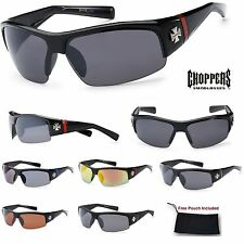 Mens Choppers Semi-Rimless Biker's Hardcore Sports Wrap Sunglasses w/ Iron Cross