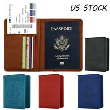RFID Blocking Leather Case Passport Travel Wallet Cover Case Card Holder 9 Slots