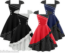 Vintage 50s Swing Pinup Polka Dot Rockabilly Flare Evening Party Cocktail Dress