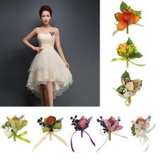 Wedding Party Bridal Groom Orchid Flower Boutonniere Corsage Brooch with Ribbon