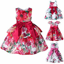 Girl Bow Flower Party Dress Toddler Kids Flroal Summer Pageant Wedding Casual