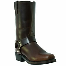 Dingo Mens Mahogany Leather Jay 11in Harness Snoot Toe Cowboy Boots