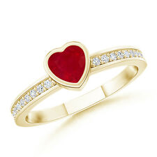 Natural Heart Ruby Promise Ring with Diamond Accents 14k Yellow Gold Size 3-13