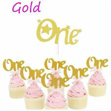 6 Pieces Hot First Birthday Cupcake Toppers Party Decorations Birthday Supplies