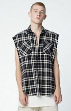 Men FOG Justin Bieber Style Plaid Sleeveless Dress Shirt Oversize