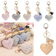New Women Sweet Key Ring Heart Resin Rhinestone Key Chain Decor Accessory BF901