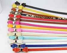 Cute Lady Women Candy Color Bow Waistband Leather Thin Skinny Buckle Belt
