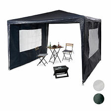 Gazebo 3x3 m, 2 Side Walls, Metal, PE, Festival Garden Party Tent Event Shelter