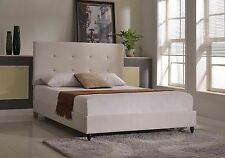 Bed Frame Twin Full Queen King Size Wood Headboard Upholstered Platform Beige