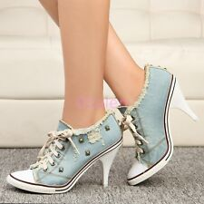 Womens Hot Heels Retro Rivet Denim Canvas Lace Up Boots Sneakers Party Shoes New