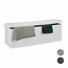 Folding Storage Bench Ottoman Foldable Cloth Foot Rest Seat Box, Seats 2