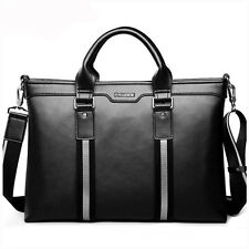 "Men Genuine Leather Briefcase Attache Business Messenger Shoulder 14"" Laptop Bag"