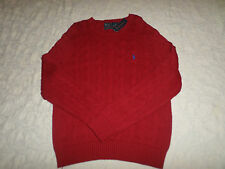 POLO RALPH LAUREN CABLE KNIT SWEATER MENS SIZE XL CREWNECK DARK RED NEW NWT