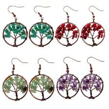 Natural Crystal Tree Of Life Dangle Earrings chakra Fashion Jewelry handmade