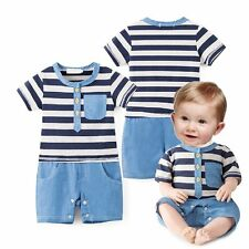 Baby Boy Sailor Party Casual Striped Suit Outfit One Piece Romper Clothes 3-18M