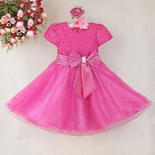 Toddler Baby Girl Sequin Party Dress Short Sleeve Wedding Bridesmaid Pageant