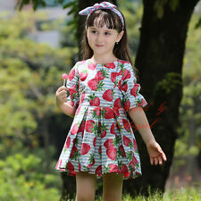 Girl Summer Pleated Dress Fruit Print Party Birthday Pageant Baby Kids Dresses