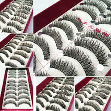 10 Pairs Makeup Long Thick Cross Black False Eyelashes Eye Lashes Handmake 012li