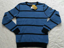NAUTICA SWEATER MENS CREW-NECK SIZE M BLUE & BLACK LONG SLEEVES NEW WITH TAGS