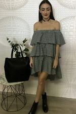 Hazel Gingham Ruffle Off Shoulder Dress