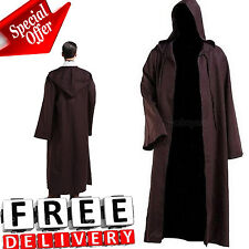 Men Hooded Robe Cloak Adult Kids Cool Costume Movie Jedi Sith Brown Star Wars