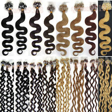 100s 20incees Easy Loop Micro Rings Tipped Remy Human Hair Extensions Wavy