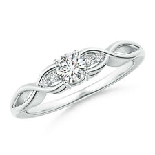 Infinity Twist Natural Round Cut Diamond Ring 14k White Gold/Platinum Size 3-13