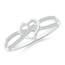 Natural Round Diamond Criss Cross Heart Promise Ring 14k Gold/Silver Size 3-13