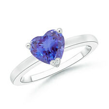 Solitaire Heart Shaped Tanzanite Promise Ring 14K White Gold Silver Size 3-13