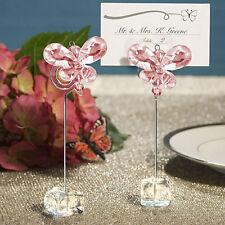 1PC Crystal Butterfly Table Number Name Place Card Holders Wedding Party Decor