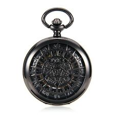Steampunk Skeleton Roman Number Mechanical Black Case Mens Pocket Watch w/Chain