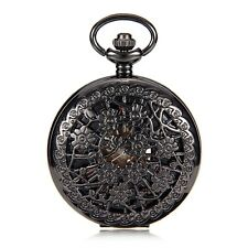 Steampunk Skeleton Roman Number Dial Hand Winding Mechanical Mens Pocket Watch
