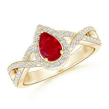 Twist Shank Pear Shaped Ruby Ring with Diamond Halo 14K Yellow Gold Platinum