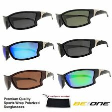 Mens BeOne Premium Quality Sports Wrap Motorcyle Polarized Mirrored Sunglasses