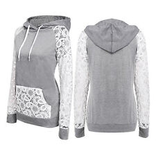 Girl Hollow Lace Pullover Draw Cord Hoodies Long Sleeve Hooded Sweatshirt Clever