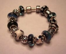 European Style Charm Bracelet Blue Black Murano Glass Beads Charms Stones USA