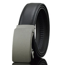 Gray Fashion Casual Solid Mens Belt Genuine Leather Auto Buckle Waistband Strap