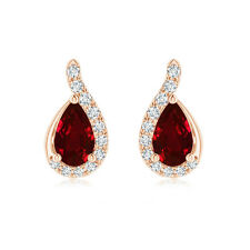 Pear Shaped Ruby Drop Earrings with Wave Diamond Accents in 14k Rose Gold