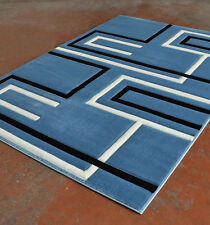 New Light Blue Contemporary Hand Carved 3-D Linear Polyester Area Rug Carpet