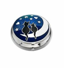 Sea Gems Gift Boxed Enamelled Love Cats on Moon Silver Plated Pillbox
