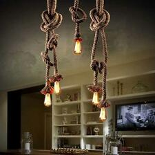 Rope Pendant Light American Style Lamp Loft Industrial Bulb Personality