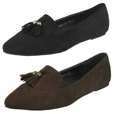 Ladies Spot On Casual Loafer Slip on Flats with Tassle