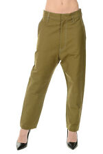 GOLDEN GOOSE DELUXE BRAND New Woman Military Green Cotton Pants Made ITALY